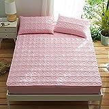 HPPSLT Protector de colchón Acolchado - Microfibra - Transpirable - Funda para colchon estira hasta La sábana de algodón Acolchada Antideslizante-Rosa_200cm × 220cm