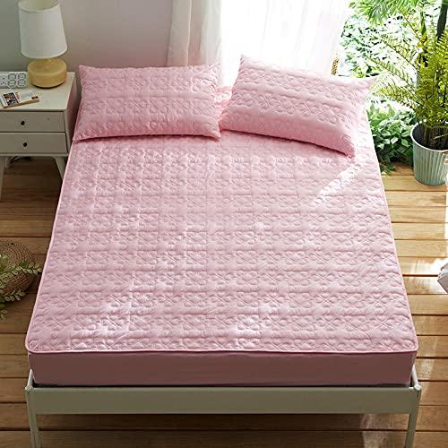 HPPSLT Protector de colchón/Cubre colchón Acolchado, antiácaros, Sábana de algodón Espesa-Rosa_200 * 220cm