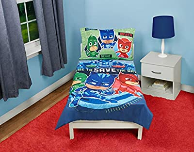 PJ Masks Time to Save The Day 4 Piece Toddler Bedding Set, Blue