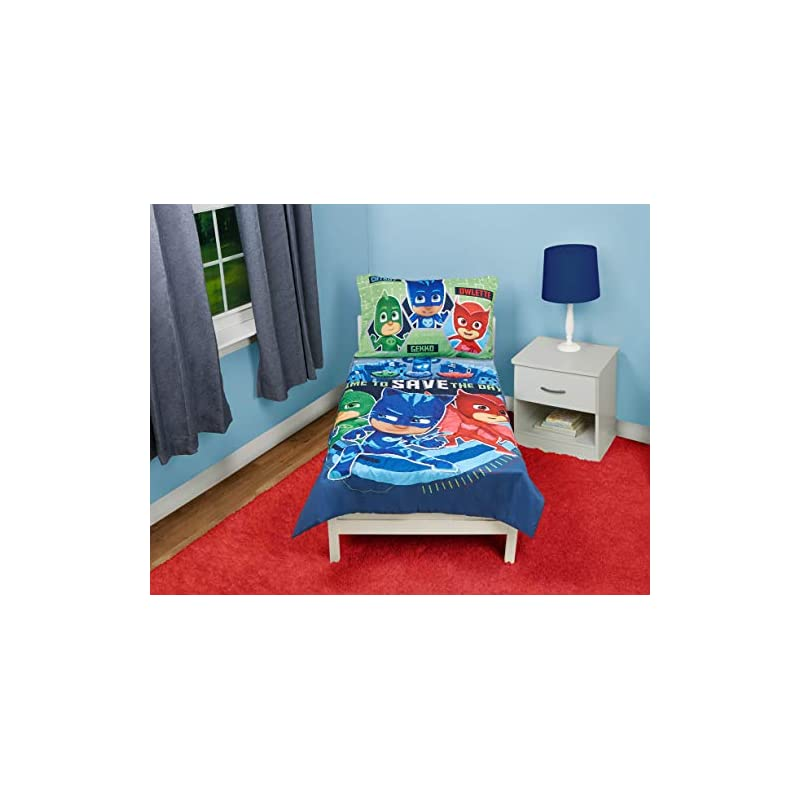 crib bedding and baby bedding pj masks time to save the day 4 piece toddler bedding set, blue