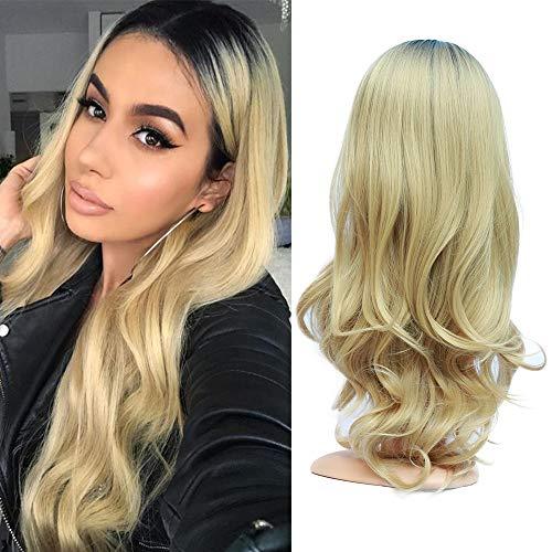 Blonde Ombre Black Roots Wigs Peluca Suave De Pelo Sintético Completo Para Mujer Peluca De Aspecto Medio De Aspecto Natural 22 Pulgadas