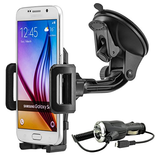 Universal 360° drehbar KFZ Auto Handy Smartphone Halterung Halter für Galaxy S2 / S3 / S3 Mini / Note 2 / S4 / S4 Mini / S4 Active / Note 3 / S5 / S5 Mini / S5 Active / S5 Neo / Note 4 / Note Edge / Note 5 / Alpha / A3 / A5 / A8 / E3 / E5 / J5 / J7 / S6 / S6 Edge / S6 Edge+ / S7 / S7 Edge usw. inkl. Micro USB KFZ-Ladekabel