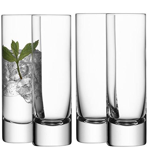 LSA - Set de 4 vasos de tubo (250 ml), transparente