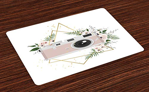 ABAKUHAUS Kamera Platzmatten, Vintage Recording Machine mit Blumen Blatt Bouquet Hochzeit Braut Theme, Tiscjdeco aus Farbfesten Stoff für das Esszimmer und Küch, Grau Puder Rosa