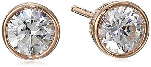 Rose Gold Plated Sterling Silver Bezel Stud Earrings set with Swarovski Zirconia 1 cttw