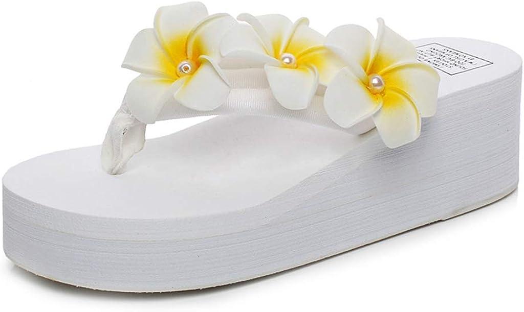MIOKE Women's Boho Flowers Wedge Flipflops Sandals Summer Comfort Platform Anti-Slip Beach Thong Sandals