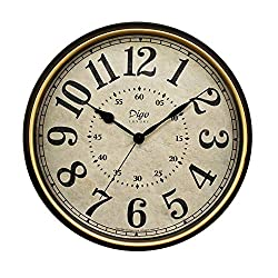 JUSTUP Large Wall Clock, 15 inch Vintage Wall Clock Non-Ticking Silent Battery Operated Black Clock with Metal Frame HD Glass Easy to Read for Indoor Decor (15in-Arabic)