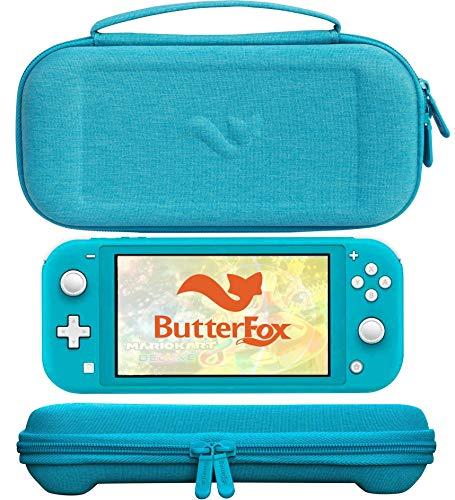 ButterFox Premium Slim Case für Nintendo Switch Lite mit 19 Spielen und 2 Micro-SD-Kartenfächern, Aufbewahrungsfach für Switch Lite-Zubehör, Türkis Blau