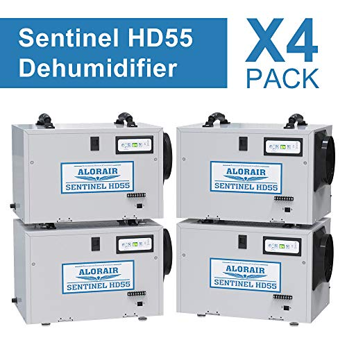 Price comparison product image AlorAir HD55 Crawl Space Dehumidifier,  55 Pint Basement Dehumidifier,  up to 1, 300 Sq.Ft,  5 Years Warranty,  HGV Defrosting,  cETL,  Remote Control (Optional),  Pack of 4