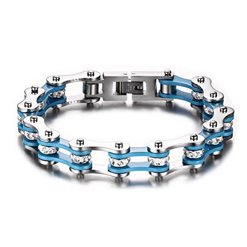 GLJIJID Pulsera de los Hombres de Acero de Titanio de la Moda, Cadena de Bicicleta de Diamantes de imitación con Incrustaciones, joyería de Tendencia Europea y Americana. 2.2 * 1.0 cm Azul Ace