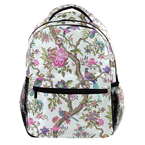 Retro Birds and Pink Flowers Laptop Backpack for Men School Bookbag Travel Rucksack Daypack School Bag for Women Girls