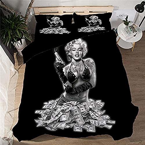 Juego de Funda nórdica Marilyn Monroe Funda Nórdica y Funda de Almohada Impresas en 3D 100% poliéster,Funda nórdica 135 * 200 cm, Funda de Almohada 50 * 75cm * 2