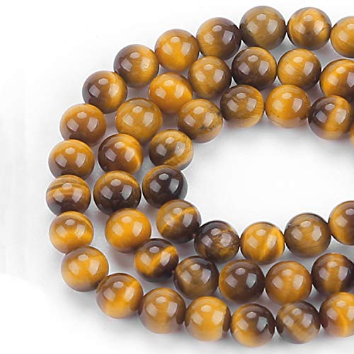 Abesee 100PCS 8mm Natural Beads Round Loose Gemstone for Jewelry Making with Stretch Cord, DIY Smooth Beads