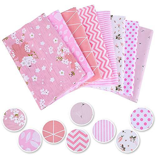 Souarts, 8 pezzi, 50 x 50 cm, tessuto stampato in cotone patchwork, tessuto di cotone, fatto a mano, per cucito, patchwork, fai da te, 50 x 50 cm, 8 pezzi, colore: rosa