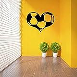 Fagreters 58 cm x 43 cm vinilo pegatinas de pared balón de fútbol aficionados deportivos amor decoración del hogar sala de estar dormitorio tatuajes de pared arte murales