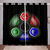 Cartoon Fidget Spinner Printed Window Curtain Blackout Room Darkening Black Microfiber Warmly Thermal Insulated Brushed Curtains Ultra Soft Polyester 2 Panel Set, 84Wx90L inch