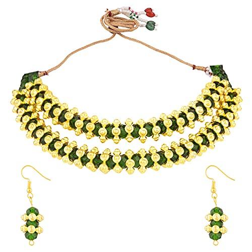 Efulgenz Juego de joyas indias hecho a mano gargantilla con cuentas de hebras y pendientes Bollywood para mujer, Metal, desconocido,