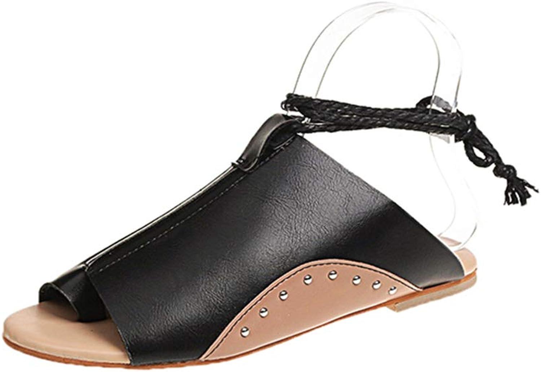 HEDDK Women Fashion Flat shoes Feminina Rome Summer Beach shoes Gladiator Sandals Casual Ladies Rivet Leather shoes Lace Up Open Toe Sandalia women Plus Size 35-42