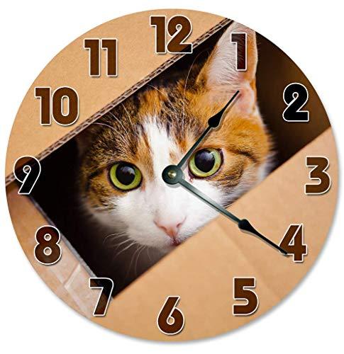 Kinhevao Reloj Cat in Box Reloj de Pared Redondo Decorativo Reloj de...