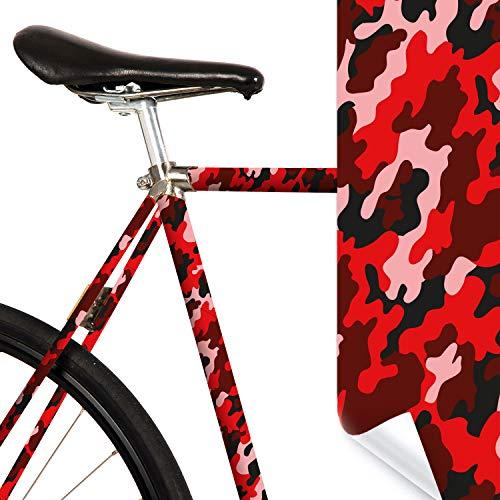 MOOXIBIKE Fahrradfolie mit Muster für Rennrad Lámina para Bicicleta de Carreras, Unisex Adulto, Rojo, 1 x 150 x 13 cm