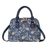 Signare Tapestry Handbag Satchel Bag Shoulder bag and Crossbody Bag and Purse for women with Jane Austen Blue Design (CONV-AUST)