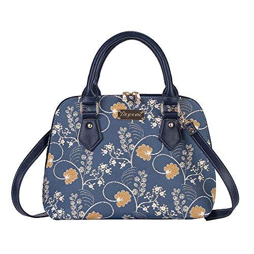 Signare Tapisserie Handtaschen Damen, Umhängetasche damen schultertasche damen und Umhängetaschen damen mit Blumenmustern (Austen Blue)