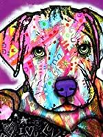 ダイヤモンドの絵画 フルスクエアダイヤモンドペインティングドッグ5Ddiyダイヤモンド刺繡動物ラインストーンアートのカラフルなクロスステッチの写真