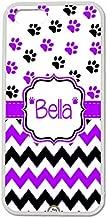 iPhone 5C Case, ArtsyCase Purple Black Dog Paw Prints Chevron Monogram Personalized Name Phone Case for iPhone 5C (White)