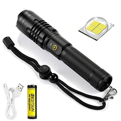 Windfire Torcia LED USB Ricaricabile, Alta Potente 8000 lumen LED Flashlight con 5 Modalità di illuminazione Zoom Impermeabile Funzione Power Bank per Campeggio Pesca (Batteria Inclusa)