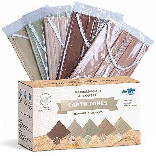 WeCare Disposable Face Mask Individually Wrapped - 50 Pack, Assorted Earth Tone Print Masks - 3 Ply