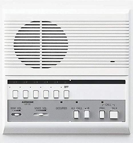 Aiphone LEF-5C Open Voice Selective Call Master Intercom with All-Call and Door-Release Buttons; Semi-Flush Mount; Accepts Up to Five Connecting Door, Sub-Master, or Master Intercoms