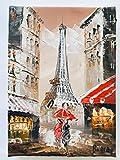 Viannaya - Cuadro de pintura sobre lienzo con diseño de Torre Eiffel, pintado a mano y al óleo, diseño de Torre Eiffel y calles de París, tamaño pequeño, 13 x 18 cm, sobre estructura de madera rígida