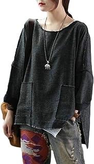 CBTLVSN Women Loose Fit Tee Side Slit Loose High-Low Hem Pockets T-Shirts
