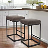 MAISON ARTS Counter Height 24' Bar Stools Set of 2 for Kitchen Counter Backless Industrial Stool Modern Upholstered Barstool Countertop Saddle Chair Island Stool,330 LBS Bear Capacity,(24 Inch,Brown)