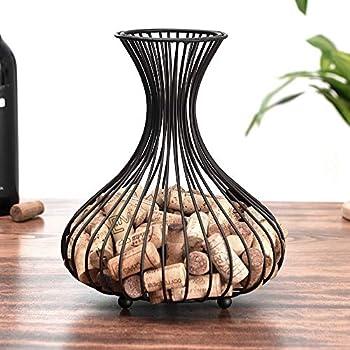 Shikha Wine Cork Holder,Cork Storage Display Wine Stopper Table Cork Container for Decoration Matte black