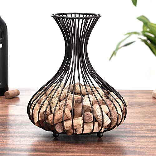 Shikha Wine Cork Holder,Cork Storage Display Wine Stopper Table Cork Container for Decoration(Matte black)