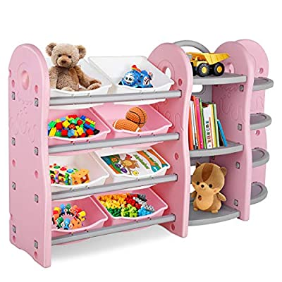 AMAHA KidsToyStorageOrganizer, Extra-Large Toddler Playroom Furniture, 4 Layers Children Play Collection Shelves, Bookshelf, Corner Rack, 8 Removeable DrawersBins, for Playroom Bedroom (Pink) from AMAHA