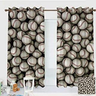 ZXAWT Custom Design Curtains/Grommet Top Blackout Curtains/Thermal Insulated Curtain for Bedroom and Kitchen-Set of 2 Panels(Baseballs-Background 84