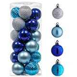 Valery Madelyn 24ct 40mm Winter Wishes Silver and Blue Christmas Ball Ornaments Decor, Shatterproof Small Christmas Tree Ornaments for Xmas Decoration