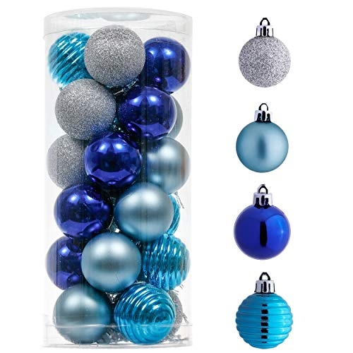 Valery Madelyn 24ct 40mm Winter Wishes Blue Silver Christmas Ball Ornaments, Shatterproof Xmas Christmas Tree Balls Ornaments Decoration