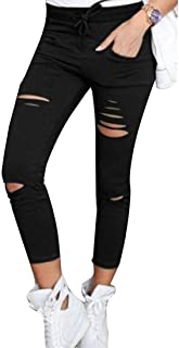Gocgt Womens Sexy Skinny Ripped Holes Slim Fit Distressed Jeans Pant Black X-Large