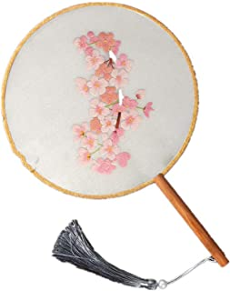 Round Hand Fans Elegant Vintage Chinese Handmade Embroidery Starter DIY Flower Tassel Fan Material Package for Art Craft Handy Sewing