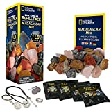 NATIONAL GEOGRAPHIC Rock Tumbler Refill – 1 Lb Mix of Rocks from Madagascar for Rock Polishers, 5 Jewelry Fastenings & Rock Polishing Grit