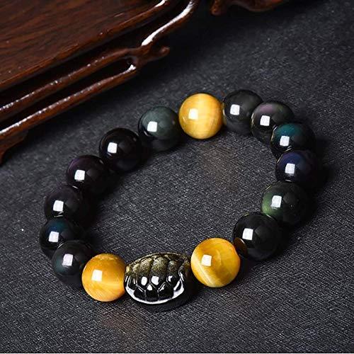 Bracelet Chance,Feng Shui Obisidan Bracelet Richesse Prospérité Coquille de Tortue Chanceux Cham Devenir Rare or Oeil de Tigre Guérison Chakra Cristal Bracelet Attirer de L'Argent Bonne Énergie