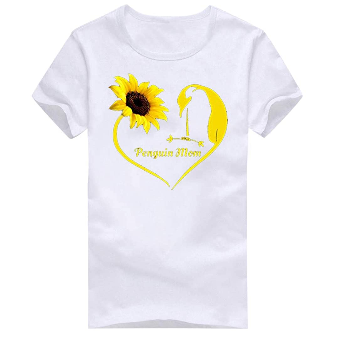Women Plus Size Sunflower Printed T Shirts Casual Short Sleeve Tees Summer Loose Casual Fit Blouse Tops Cute Novelty T-Shirt