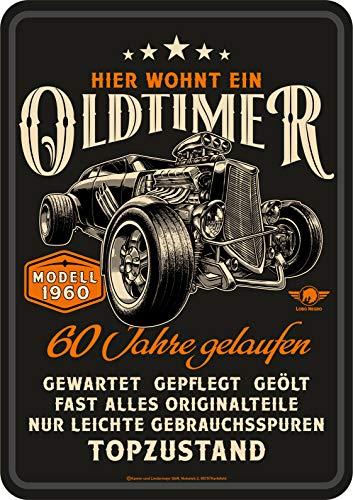 Lobo Negro Deko Blechschild als Geschenk zum 60. Geburtstag: Oldtimer Modell 1960