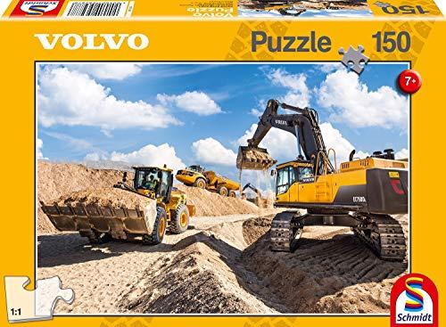 Schmidt Spiele 56287 Baufahrzeuge, Volvo L120GZ, A40F, EC750D, 150 Teile Puzzle, gelb
