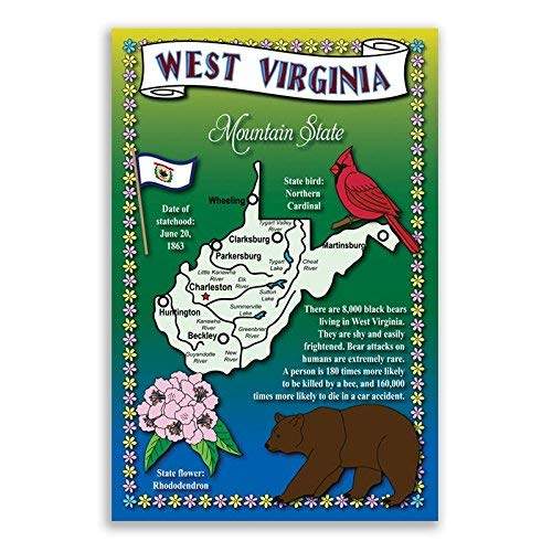 WEST VIRGINIA STATE MAP postcard set of 20 identical postcards. Post cards with WV map and state symbols. Made in USA.
