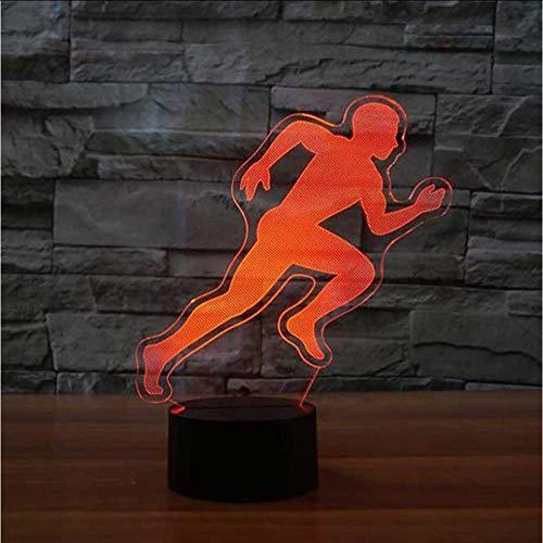 Running Action Modelling 3D Tafellamp Led Slaapkamer Slaap Nachtlampjes Kleurrijke Gradient Sfeerlicht Kids Bedzijde Decor Lamp