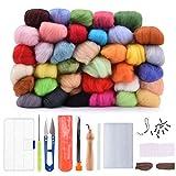 Lana de Fieltro, BASEIN felting kit 36 Colores Kit Básico de Fieltro de Lana Itinerante Para Hilar a Mano Proyectos de arte de bricolaje (2020 Mejorada Versión)